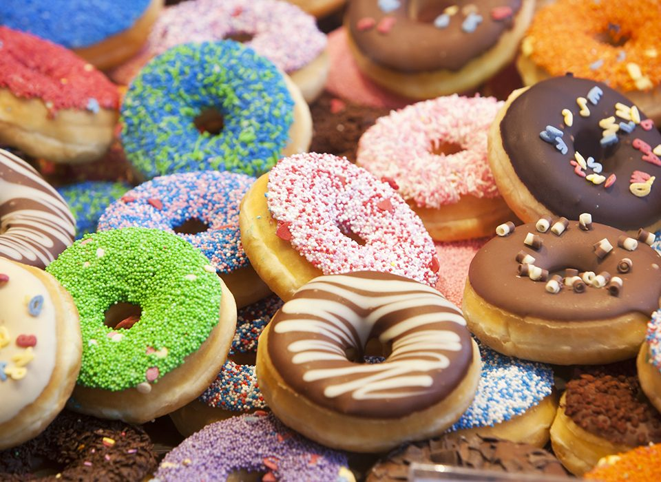 Colorful donuts with different decorations